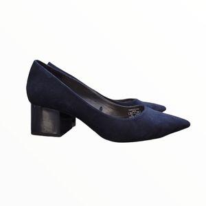 Zara Navy Suede Pointed Toe Block Heel Size 6
